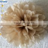 2016 Popular Light Brown Color D25cm 17gsm Tissue Paper Flowers Home Decoration Wedding Baby Shower Kids Party