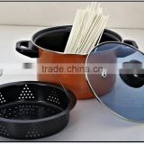 Cooking pasta pot pan with steam basket