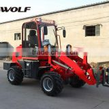 China 1t WOLF Small Wheel Loader ZL10 price with pallet fork/snow bucket/grapple/grass fork