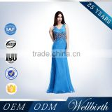 Blue Color One Piece Real Sample Crystal Beaded Tall Tube Women Sexy Maxi Bandage Dress