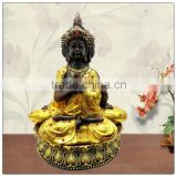 24k painting Golden color 3 side buddha figurine ,resin buddha