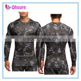 long sleeve gym t shirt fitness wear sublimation printing slim fit custom compression shirt