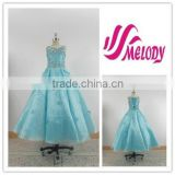 Organza Sky Blue Beaded Ball Gown Lace up Little Girl Dress Fashion