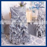 CH003H1 wholesale 100% polyester ruffled striped wedding black and white gathered chair cover