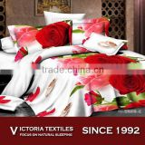 red romantic rose pattern reactive printed super soft microfiber bed duvet cover sets 3D