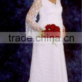 Long sleeve V-neckline custom-made lace pregnant wedding dresses CWFaw4435