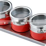 RED powder spraying condiment set,stainless steel spice container,,set of 3 pcs glass lid spice jar