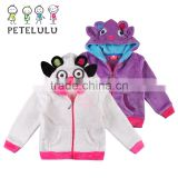 2015 Winter New Arrival Coral Velvet Animal Cow Baby Coat Jacket suit for 1-6 Years Children