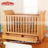 Factory best selling new pine wood toddler baby beds with drawers