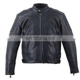HMB-0458A LEATHER JACKETS MOTORBIKE COATS BLACK BIKER STYLE