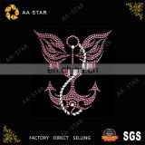 New design anchor pattern hot fix rhinestone transfer motif for clothing