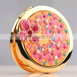 Promotion wedding bride round pocket mirror with flowers