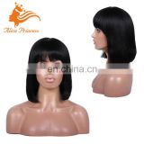 Short bob human hair wigs with bangs 10-14 inches Brazilian full lace wigs for black women