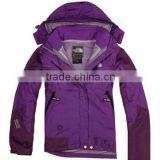 grace and nobility purple warmth and breathable and water proof PTFE ski suit with adjustable hat