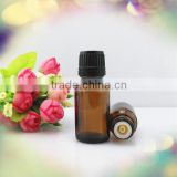 Trade Assurance! wholesale amber glass empty essential oil bottle 15ml with reducer orifice droper cap