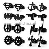 Lot of 8 Assorted Black Plated Stainless Steel Unisex Body Jewelry Gift Set Stud Earrings, 21 Gauge