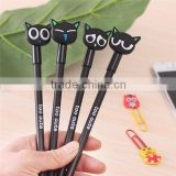 In stock stationery items for schools,Hot selling korea black cat design plastic gel pens wholesale