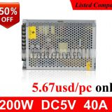 50% discount LED display applicable constant voltage ac dc 40ampere 200w 5v power supply
