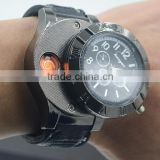 Hot Selling USB Lighter Watch Men's Casual Wristwatches with Windproof Flameless Cigarette Cigar Lighter