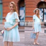 F10064A Aliexpress hot sale european fashion pregnant women chiffon plus size maternity dress