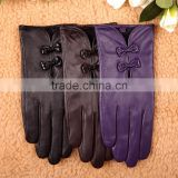2015 New fashion stylish New WARMEN Women Genuine Nappa Soft Leather Lined Gloves with Cute Bow Hand Tips for womens