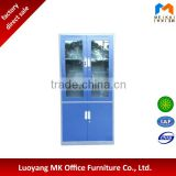 lockable glass door steel book cabinet metal filing cupboard