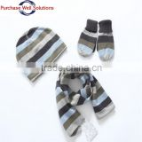 High Quality Three-piece Suit Knitted Baby Hat, Socks and Scarf