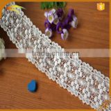 2016 New fashion factory wholesale white bulk decorative embroidered 100% cotton lace trim width 6.5CM