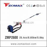 2014 ZMP2600 25.4cc 2-stroke long reach gasoline pole saw with honda grass cutter machine