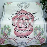 Customized pattern throw and blankets, aubusson tapestry polyester cotton woven bedspread