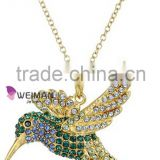 Gold Plated Green and Blue Hummingbird Pendant