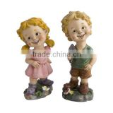 factory custom handmade carved fashion resin boy and girl garden statue