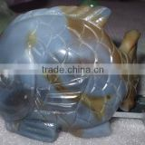 Blue Chalcedony stone fish carving-semi precious stone animal carving products for gifts and home decoration