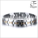 Elegant Titanium Stainless Steel Magnetic Therapy Bracelet Pain Relief for Arthritis and Carpal Tunnel Gold Silver two Tones                                                                         Quality Choice