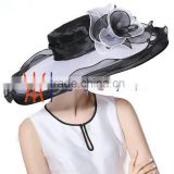 Wide Brim Women's Wedding Church Hats White/Black Color Wholesale