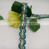 personalized thick covered wire golden braid lace with sequins