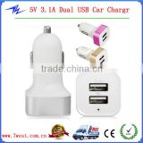 5V 3.1A Aluminium Alloy 2 Dual USB Port Mini USB Car Charger Power Adapter for iPhone Android Phones Tablet PC