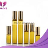 3ml 5ml 10ml Amber perfume roll on bottles glass bottle with stainless steel roller metal ball for essential oil