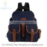 Fashion jean backpack travel canvas bags cowboy bags with contrast color, genuine leather or puFashion jean backpack travel can