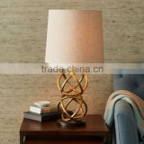 11.23-5 geometry-inspired base Rings intersect Brass beauty Geodesic Table Lamp add a warm glow beside sofas and chairs