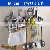 60cm Double cup Stainless Steel kitchen wall mounted corner shelf                                                                         Quality Choice
