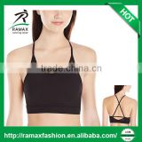 Ramax Custom Women Black Criss Cross Straps Latest Design Hot Yoga Gym Sports Bra