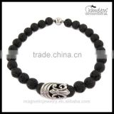 Chameleon Black Lava or Agate Stone Bead Stones Bracelet Jewellery 8MM with Magnetic Round Locks