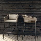 Bar Set Table Chair  Aluminum Frame Rope Rattan Wicker Weave Taiwan Olifen Waterproof 5cm Cushion Pillow