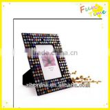 Modern Art Decor Black with Silver Antique Ornate Glass Mosaic Photo Frame Hang for Room