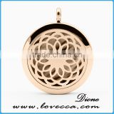 Stainless Steel Rose Gold Perfume Essential locket Aromatherapy Diffuser Pendant Necklace