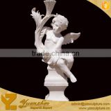 Life Size Marble Stone Statue of Angel Siting On Coloumn sculpture for garden decoration