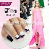 2017 Wholesale Valentine love design fake nail art design for beauty
