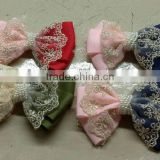 CF0386 2013 Pretty colorful cheap large lace flower bow for hair