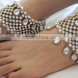 Bridal crystal broad payal ANKLETS pair feet bracelet